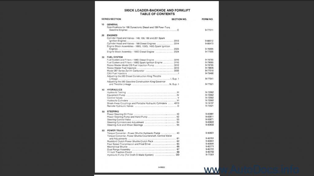 Case 580CK Backhoe Order & Download