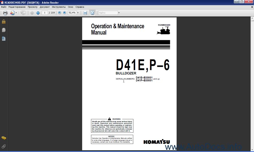 komatsu bulldozers d41e p 6 order download. Black Bedroom Furniture Sets. Home Design Ideas
