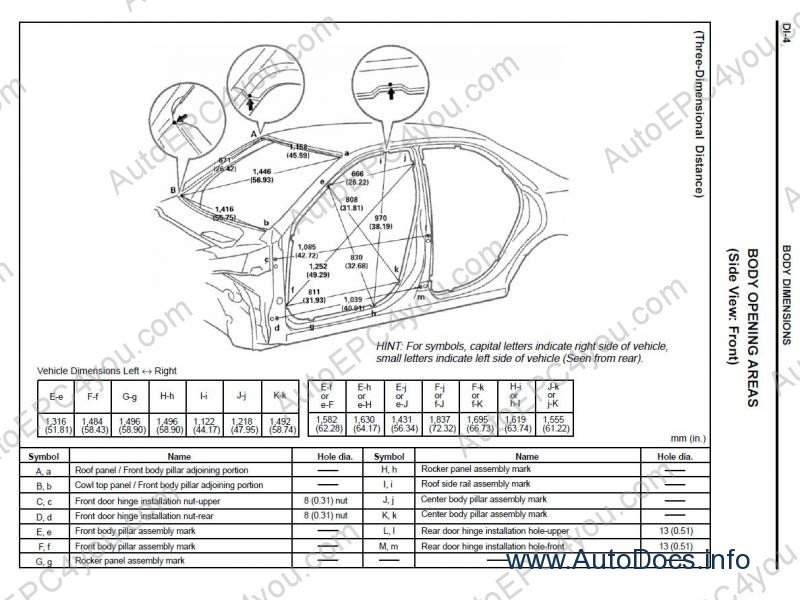 Lexus body dimensions on 2007 lexus rx350 service manual