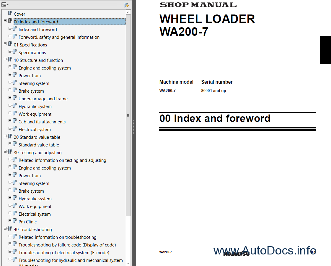Komatsu WA200-7 Wheel Loader Shop Manual PDF
