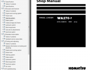 Repair manuals Komatsu WA270-7 Wheel Loader + USA Shop Manual PDF
