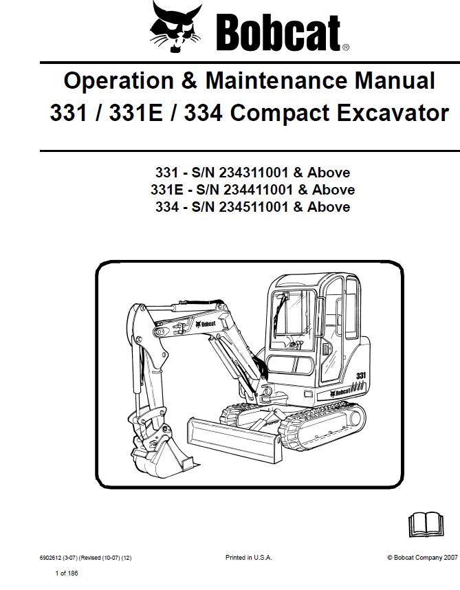 Excavator Repair Manual bobcat 331
