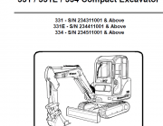 Repair manuals Bobcat 331, 331E, 334 Compact Excavator Operation & Maintenance Manual PDF