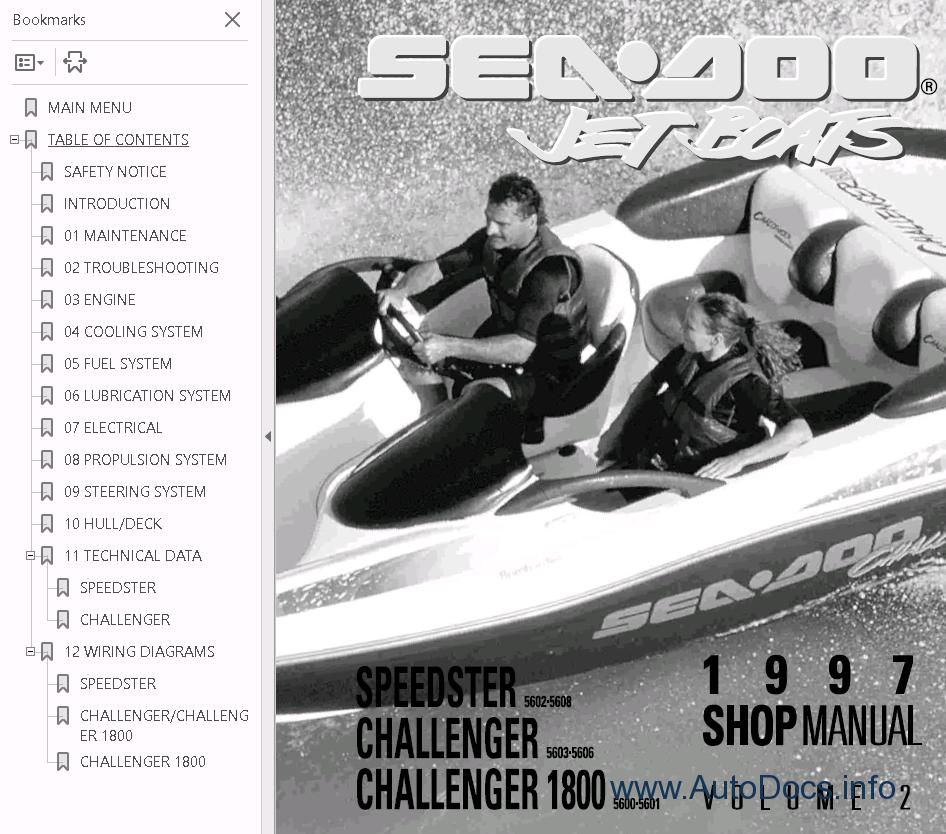 Sea Doo Boat Challenger 1800 Repair Manual 1997