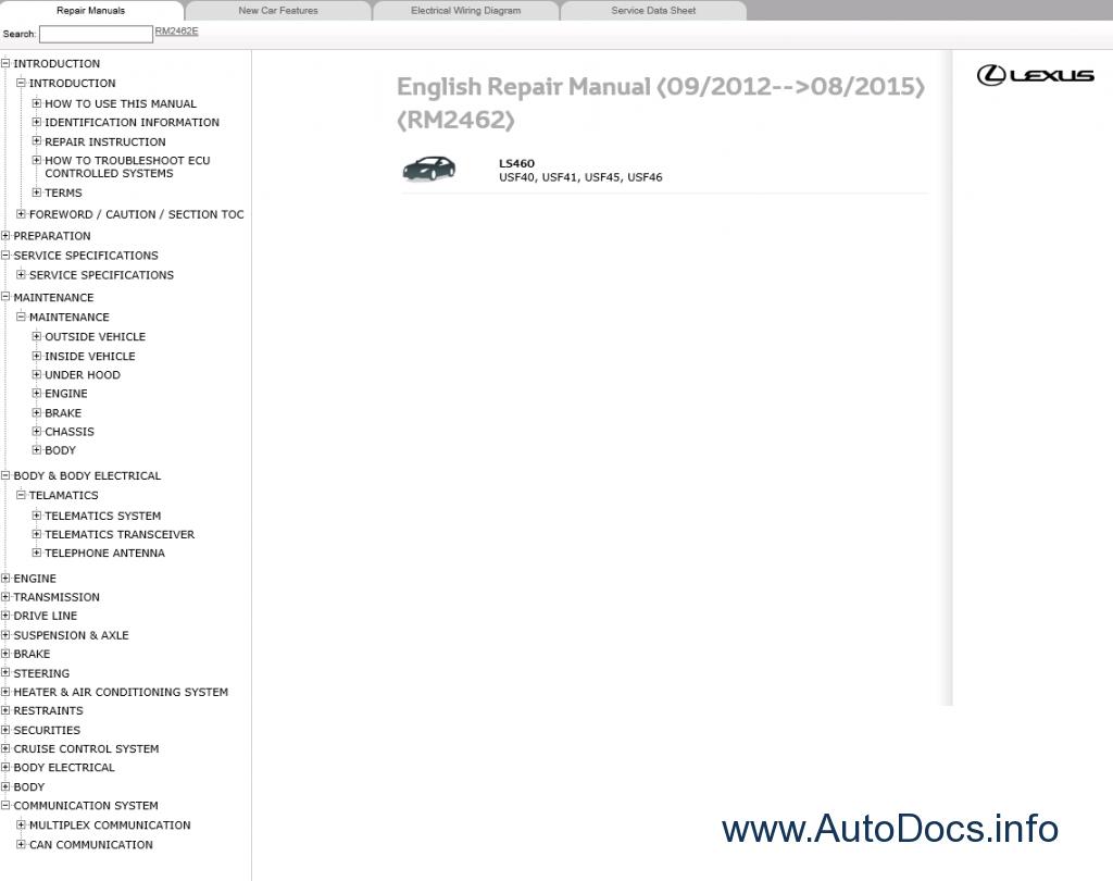 Lexus Ls460 Repair Manual 092012 082015 Electrical Wiring Diagram Manuals 09 2012 08 2015