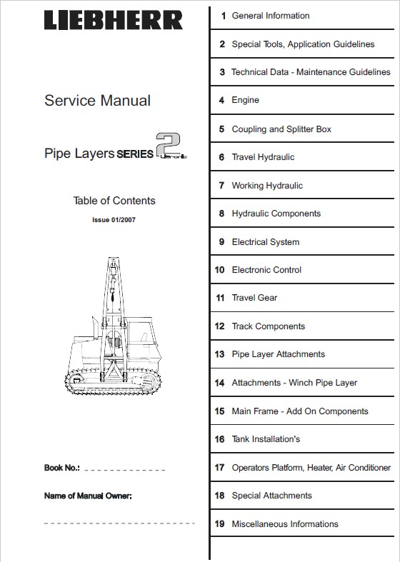 Liebherr RL 22-52 Litronic Pipe Lyers workshop service manual