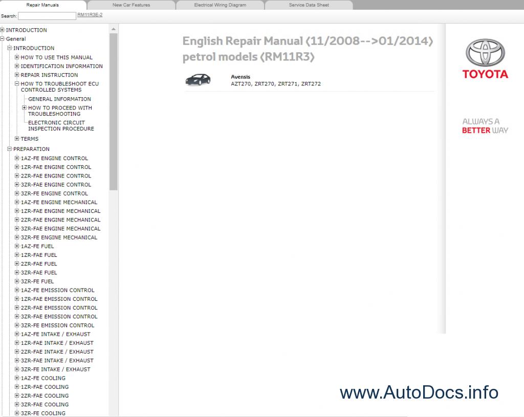 Toyota Avensis Petrol Model Azt270 Zrt270 Zrt271 Zrt272 Rm11r3